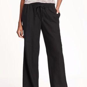 Mid-Rise Linen Blend Pants in Black sz. XS